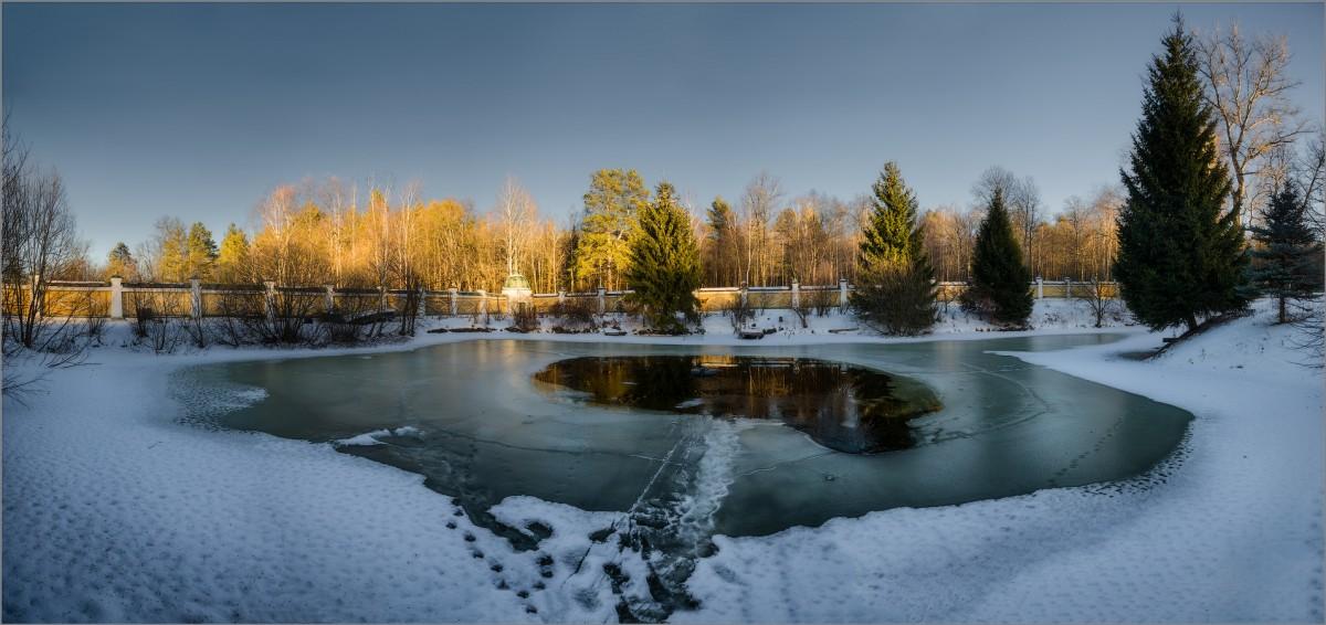 Полынья на скитском пруде (снимок сделан 29 января 2016 г.)